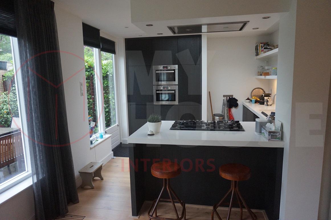 zwart wittegels in keuken : Eiland Ontwerp Keuken Zwart