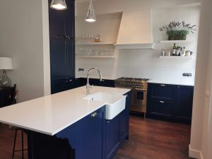 White and blue kitchen